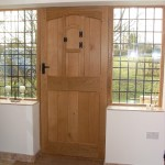 External Oak Door with half sidelights - internal view