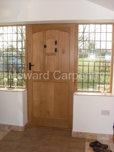 External Oak Door with half sidelights - internal view