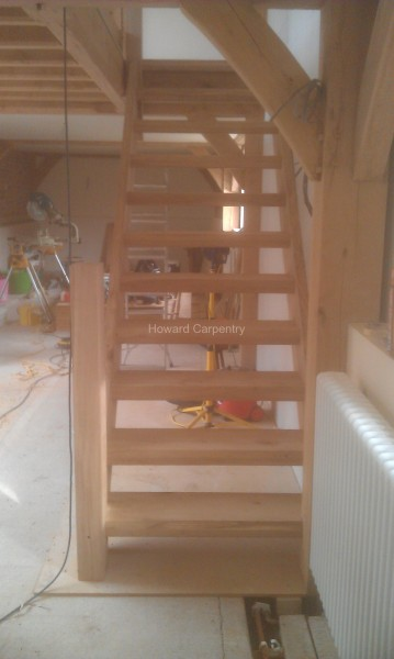 Bespoke oak (home grown by the customer) staircase, Herefordshire